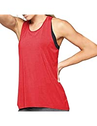 d0d4a483f4400 Débardeur de Yoga Femme Tops de Sport pour Fitness Gym Racerback Tank Top  Camisole Elastic T-Shirt sans Manches Vest Chemiser…