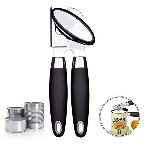 Reyok apriscatole - premio apriscatole manuale in acciaio inossidabile, lama in acciaio al carbonio per sicurezza bordo liscio - leva apribottiglie 3 in 1 per cucina