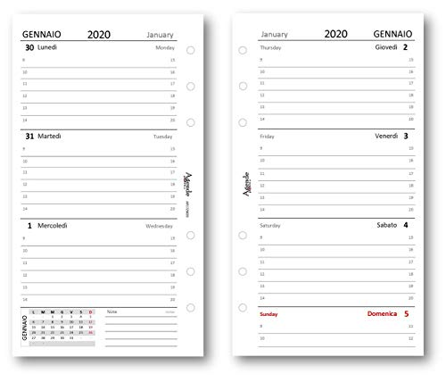 Ricambio agenda 2020 settimanale bianco (90 gr) 9,5 x 17 bilingua ricambio agenda organizer