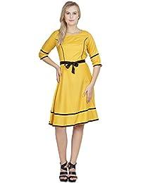e95d0efd00e88 PATRORNA Women s Half Sleeve A Line Peplum Dresses in Mustard (F10A048MU)
