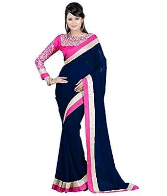 Winza Designer Chiffon Saree With Blouse Piece (_Blue_Free Size)