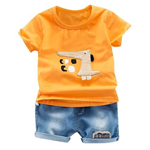 Mbby tute bambino dinosauro, 3-24 mesi completo neonato 2 pezzi set estate primavera maglietta manica corte stampa di dinosauro+ pantaloncini di jean tuta cotone ragazzi ragazzo
