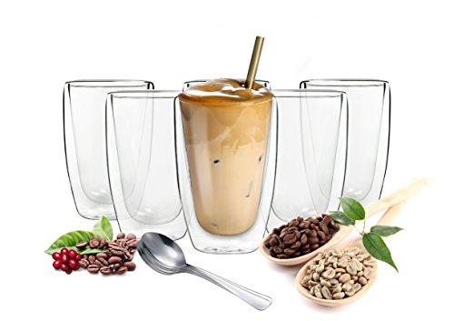 Sendez 6 doppelwandige Cappuccino Gläser 200ml mit 6 Edelstahl-Löffel GRATIS Kaffeegläser Teegläser Gläser Set Thermoglas -