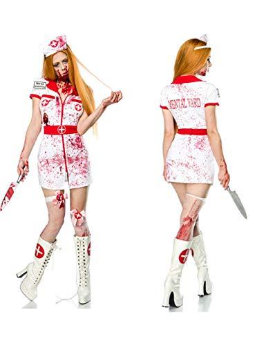 Maske Kostüm Blutige - TUTOU Horror Halloween, unheimlich Ärztin Krankenschwester Rollenspiel Service unheimlich blutige Krankenschwester Kopf Kostüm Zombie Dämon Maske Dekoration Requisiten