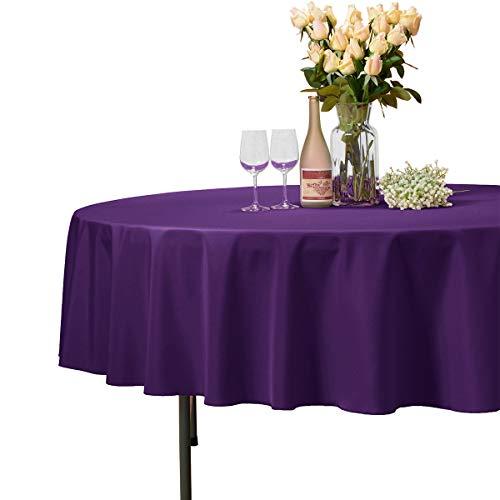 Veeyoo - tovaglia rotonda o quadrata in diverse misure, colore a tinta unita, ottima per apparecchiare la tavola per matrimoni, ristoranti, eventi, tessuto, purple, rotondo-178 cm