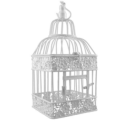 Gabbia per uccelli in metallo, di forma quadrata, colore bianco, Metallo, bianco, P-333 klein