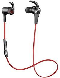 [Versión mejorada] Sonido Peats Bluetooth Auriculares 4.1Deporte en Ear inalámbrico aptX 8horas magnético con micrófono sudor. Adecuado para jogging Fitness Workout Auriculares estéreo de oído para iPhone Samsung y cualquier otro Smartphone o dispositivo Bluetooth (Negro)