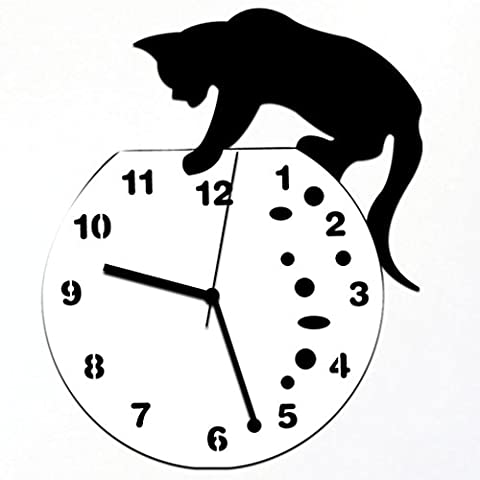 Beauté Top Acrylique classique Mignon Méchant chat Horloge murale Horloge design moderne Home Decor Wall Sticker Montre (A)