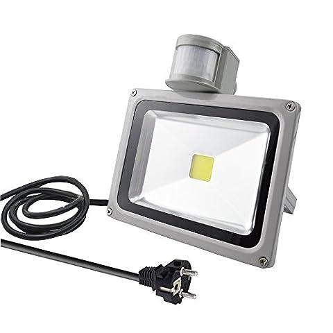 GLW 20W LED Nachtlicht mit Bewegungsmelder, LED Sensor Lampe Strahler Fluter Außenleuchte Außenstrahler Wandstrahler, 1600Lm, Kaltweiß 6000 K, Wasserfest IP65, Europäischer Stecker, für Flur Garten Garage