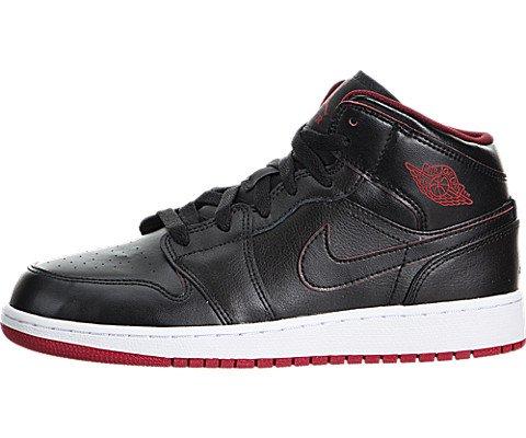Nike Jungen Air Jordan 1 Mid BG Turnschuhe, Schwarz/Weiß/Rot (Schwarz/Schwarz-Weiß-Gym Red), 37 1/2 EU (Jordan Schuhe In Air Jungen)