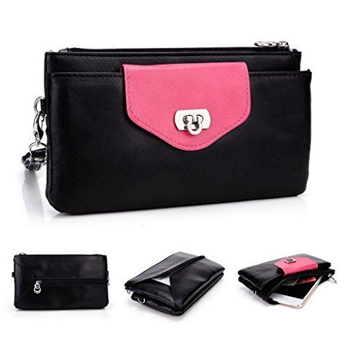 Kroo Pochette Portefeuille en Cuir de Femme avec Bracelet Étui pour Oppo U3/N3 rouge - Red and Grey noir - Black and Magenta