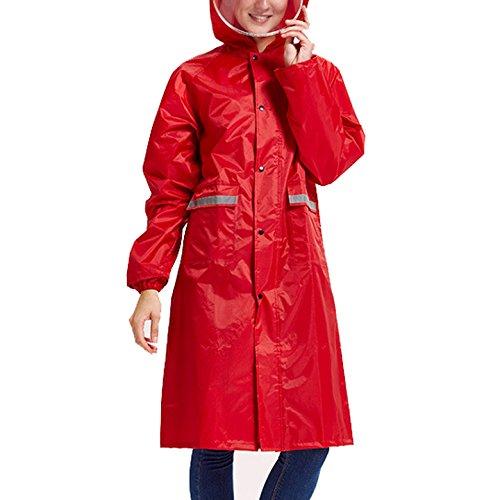 Preisvergleich Produktbild Maovii Damen Herren Paar Outdoor Funktions Langform Wasserdichte Parka Regenmantel Regenbekleidung Sport Jacke Mit Kapuze Tasche Atmungsaktiv (EU 44(Herstellergröße:2XL), Rot)