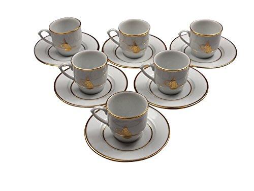12 tlg. Güral Porzellan - Espresso/Mokka Service weiß mit Tugra Symbol und Goldrand