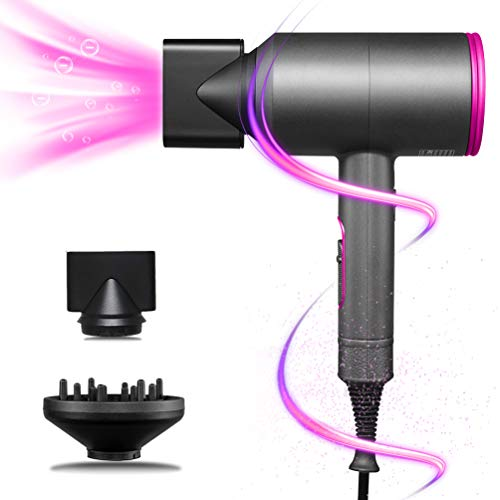 Ionen Fön Haartrockner 2000w Hair Dryer Braun föhn mit Diffusor und Stylingdüsen,3 Geschwindigkeiten Warm und Kühl Wind -