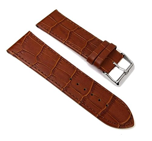 Big Fashion Louisiana Prägung Ersatzband Uhrenarmband Kalbsleder Band Braun 21934S, Anstoß:30 mm