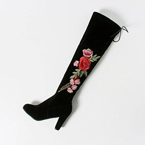 Longra Rose Donne ricamate Flock Materiale superiore Tacchi alti con tacco Stivali sopra-il-ginocchio Nero