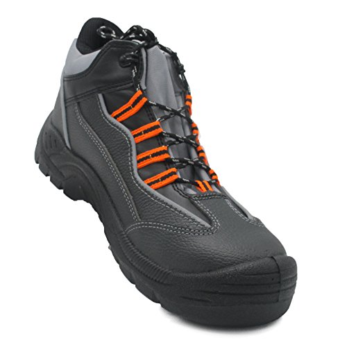 walkx work Sicherheitsschuhe S3 SRC | Leder | Stahlpappe | Trittschutz | Rutschhemmend | Antistatisch | Leicht | Herren | Frauen | Arbeits-Stahlkappen-Schuhe (46) (Anatomische Schuhe Frauen)
