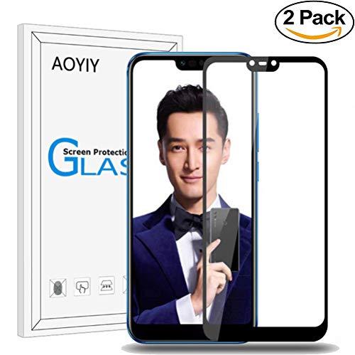 AOYIY Huawei Honor 8X Vollbild Panzerglas, Gehartetem Glas Folie Schutzfolie,Bildschirmschutzfolie für Huawei Honor 8X Kratzfest,9H Härtegrad Gehärtetem Glas Bildschirmschutzfolie-Schwarz[2 Pack]