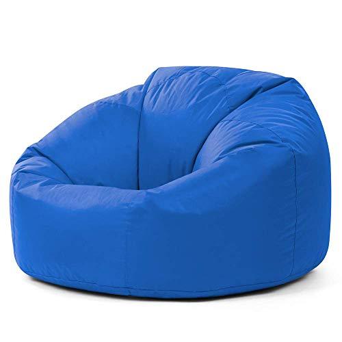 Bean Bag Bazaar getäfelteter Sitzsack XL für Innen und Außen, Blau - extra großer wasserdichter Sitzsack