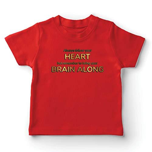 lepni.me Kinder Jungen/Mädchen T-Shirt Folgt eurem Herzen und bringt euer Gehirn, inspirierendes Angebot. (9-11 Years Rot Mehrfarben)