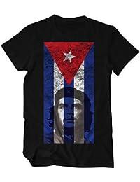 Che Guevara Portrait Cuba Flagge T-Shirt Herren