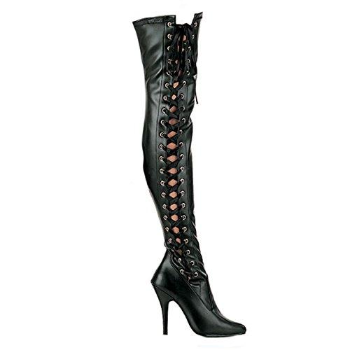 PleaserUSA Damen High Heels Overknee Stiefel Seduce-3050 mit Korsett Schnürung Satin Mattschwarz