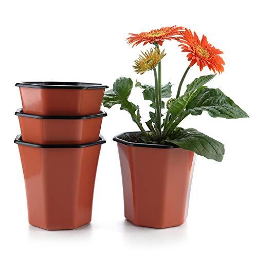 T4U Pot à Fleurs Auto-Irrigation Rouge en Plastique Octogone Lot de 4, Plante Planteur Cache Pot Jardinière Contenant Design Créatif Décoration de Maison Bureau Cadeau pour Anniversaire Marige