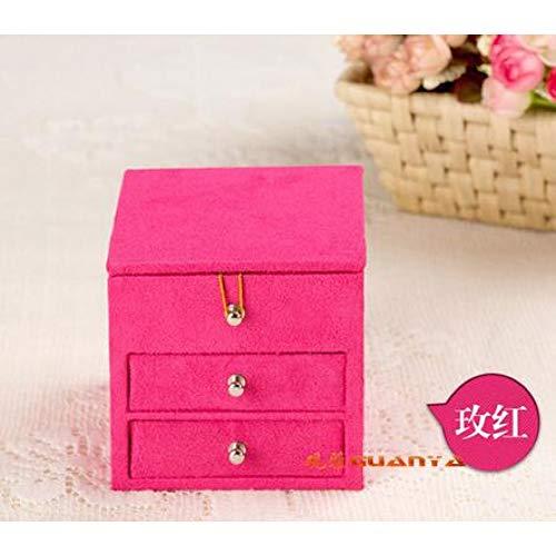 LKJLIN Schmuckkästchen Samt 3 Schichten Platz Tragbare Multifunktionale Halskette Ringe Etc Schmuckschatullen Geschenke Box Tragetasche,Rose Red