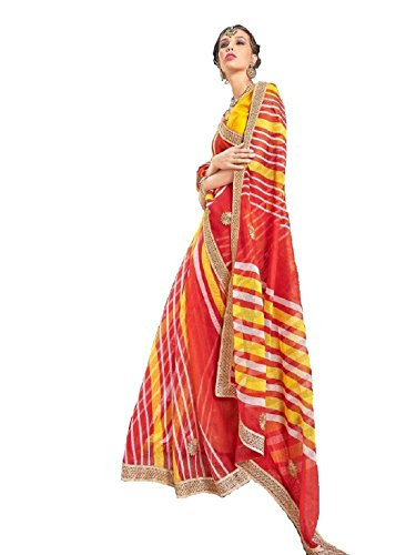 V's Fashion Point Supernet Artsilk sarees (Red Leheria)