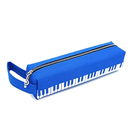 BSmusic Black White Piano Keyboard Water-proof Oxford Zippered Stationery Pencil Case Pen Bag Pouch for Music Lovers Pianist Writer Student (Blue)