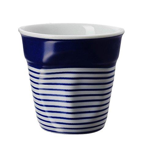 REVOL RV646083 Tasse Espresso Froissé Blanc et Bleu, 6.5 x 6 cm