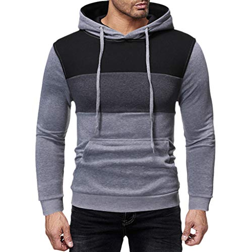 Men's Hoodies Pullover Casual Sports Outwear Sweatshirts ◆Elecenty◆ Slim Fit Hoodie Color Block Pullover Hooded Sportbekleidung with Kanga Pocket -