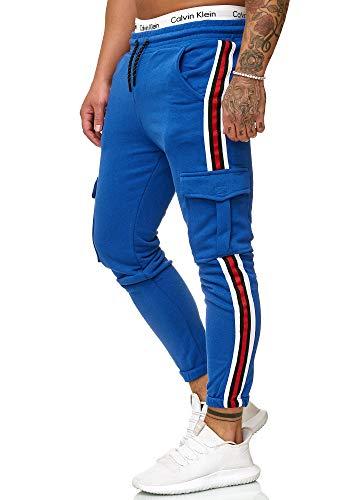 OneRedox Herren | Jogginghose | Trainingshose | Sport Fitness | Gym | Training | Slim Fit | Sweatpants Streifen | Jogging-Hose | Stripe Pants | Modell 1224 Blau L - Fit-blauer Streifen