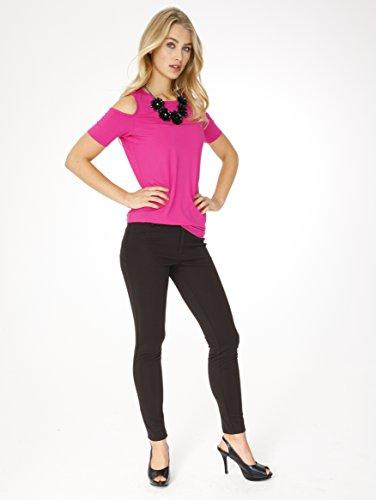 Pink Cut Outs Damen Sexy Kara Oberteil Rundhals Schulter Shirt Kim nwONPy0vm8
