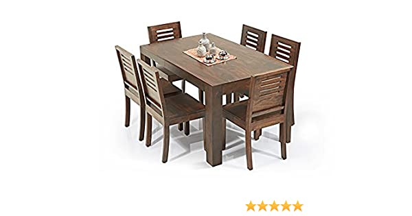 31b8310899416 Urban Ladder Arabia - Capra 6 Seater Dining Table Set (Finish   Teak)   Amazon.in  Home   Kitchen