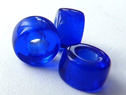20(PCS) X 9mm großes Loch Ring Spacer Rondelle Pony Crow Tschechische Glasperlen-Kobalt Blau-D013 - Rondell Czech Pressed Glass Bead