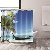 XHCP Polyester 3D Visuell Blau Sandstrand Landschaftsdruck Schimmelresistent Wasserdicht Duschvorhänge Verdickte Badewanne Abgeschnitten Hängender Vorhang, 2, 200 * 180 cm