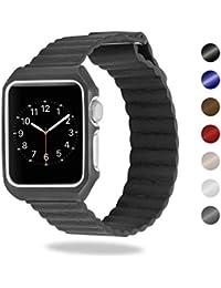 Para Apple Watch, SUNKONG Correa nueva actualización correa de cuero con todo en una funda protectora y cierre magnético para Apple Watch series 1,series 2,series 3