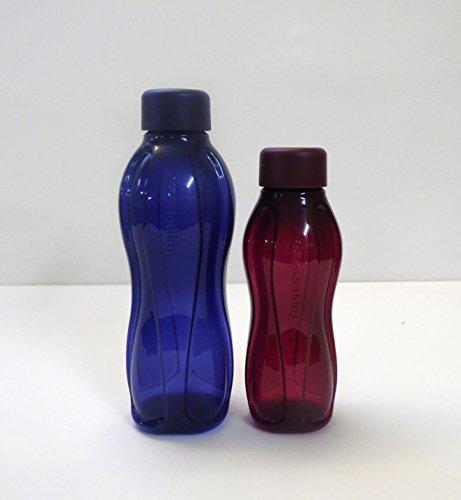 TUPPERWARE To Go Eco(2) 500 ml dunkelblau + 310ml brombeer Wasser Trinkflasche Öko Ecoflasche Flasche