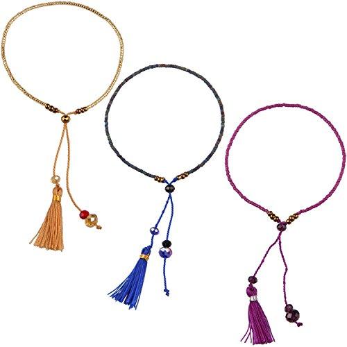 KELITCH Armband 3 Stück aus Rocailles Perlen Handmade Schnur Freundschaftsarmbänder mit farbig Quaste Anhänger - Braun/Lila/Blau