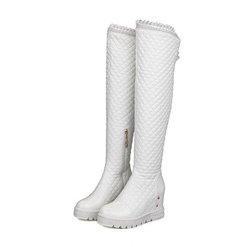 VogueZone009 Damen Reißverschluss Hoher Absatz Überknie Hohe Stiefel Stiefel, Weiß, 36