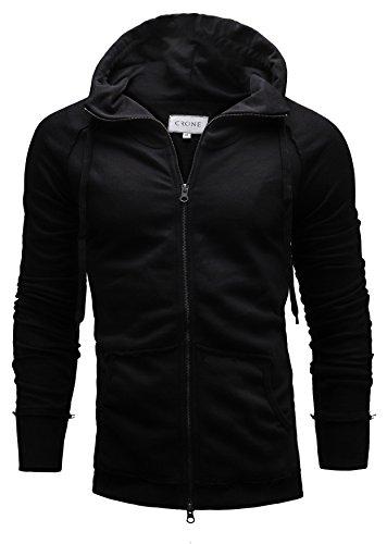 Crone Herren Hoodie Kapuzenpullover Sweatshirt Pulli Totenkopf Sweatjacke Pullover Jacke mit Kapuze aus 100% reiner Baumwolle Skull Black Casual