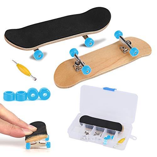 Fingerboard Finger Skateboards professionelle Mini-Legierung komplette hölzerne Ahorn Deck mit Box reduzieren Druck Kinder Geschenke(Hellblau)