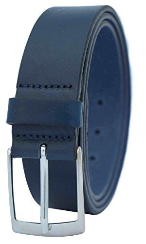 GREEN YARD Vollledergürtel aus 100% Rindleder für Herren 3,5cm Breite, Gr.-85 cm Bundweite = 100 cm Gesamtlänge, Blau