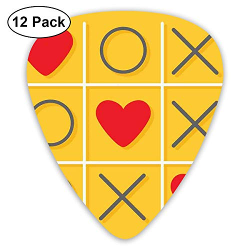 ks - 12 Pack,Abstract Art Colorful Designs,Tic-Tac-Toe Game With XOXO Design Let Me Kiss You Valentines Romantic Illustration,For Bass Electric & Acoustic Guitars. ()