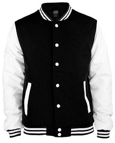 Urban Classics Oldschool College Jacket Black/White