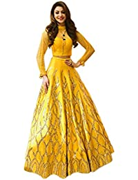 e21fd5f5543 Tread India Women s Semi-stitched Embroidered Lehenga Choli (Tread-urvashi  yellow lehenga Free Size