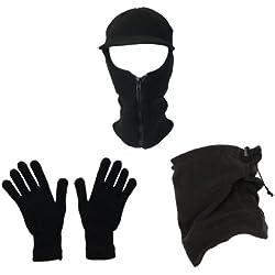 Set Regalo da uomo inverno Outdoor Scaldacollo Sciarpa Passamontagna Cappello Set di guanti pesca Walking set Black Taglia unica