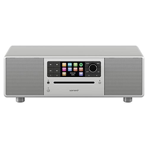 sonoro Prestige 2.1 Kompaktanlage (UKW/FM/DAB+/WLAN, CD-Player, AUX-in, aptX Bluetooth, Spotify Connect) Silber - Digital Internet-Radio - Fm Zwei-wege-radio