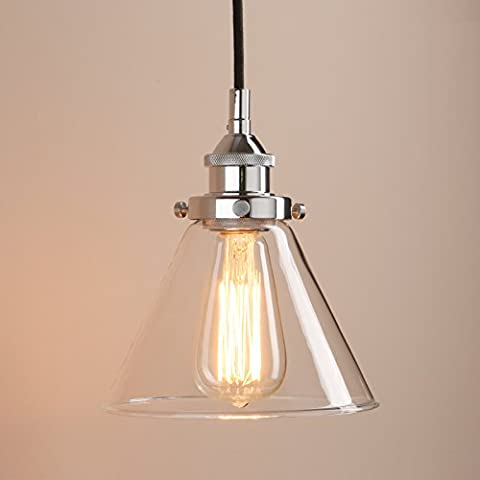 Pathson Industrial Vintage Modern Victoria Hanging Ceiling Pendant Light Fixture Loft Bar Kitchen Island Chandelier with Cone Clear Glass Shade (Chrome)